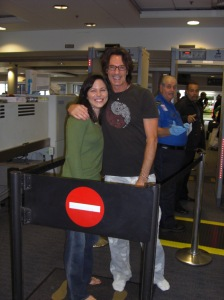 Stephanie Nye and Rick Springfield held in holding area at Boston Logan TSA