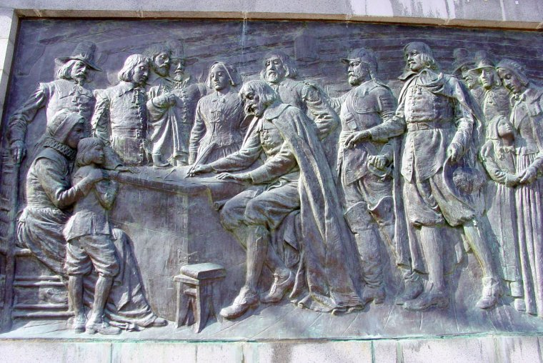 Bas Relief of the Signing of the Mayflower Compact