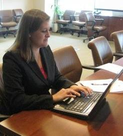 Allie Bullard, our Pro Bono law clerk, working hard at the meeting