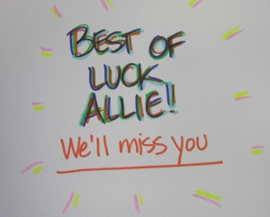 Best of Luck Allie!