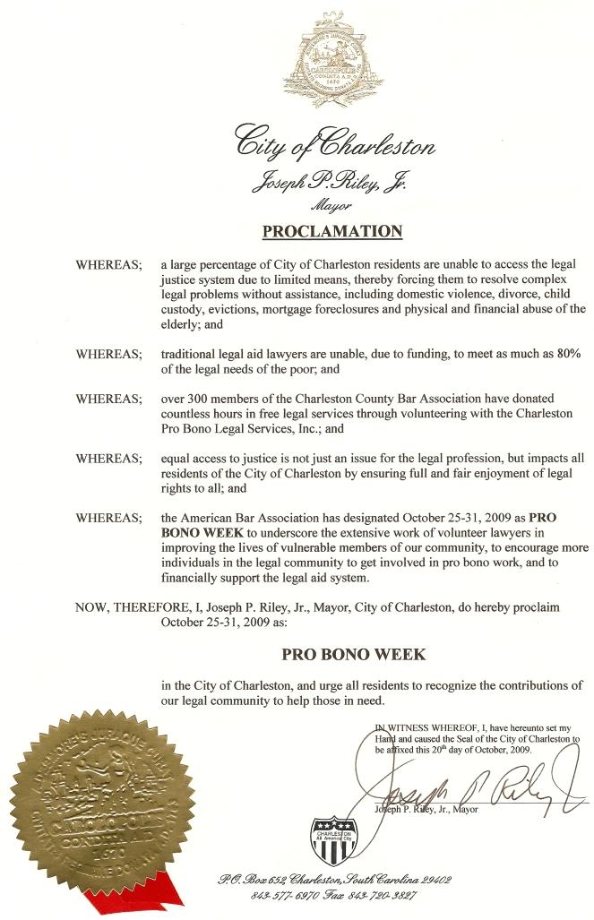 Charleston Pro Bono proclamation